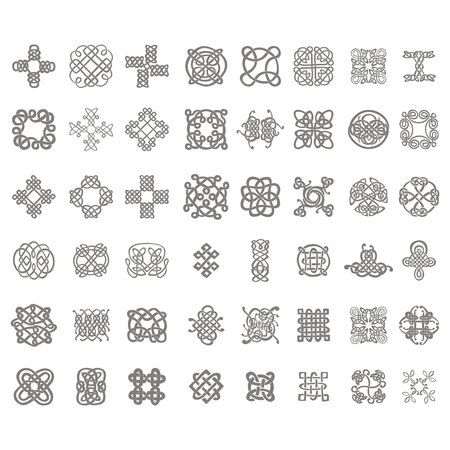 monochrome icon set with celtic knots for your design