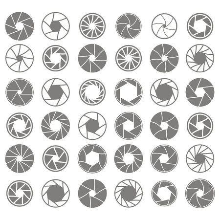 set of monochrome icons with camera shutter symbols for your design Vectores