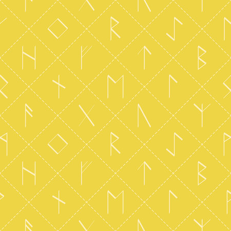 Seamless pattern with old runic letters for your design Illustration
