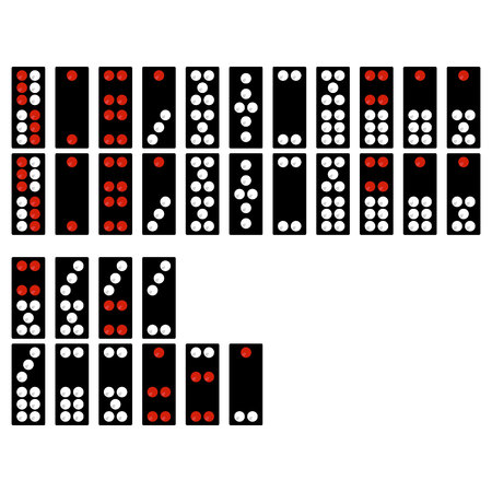 Set of monochrome icons with chinese dominoes Ilustracja