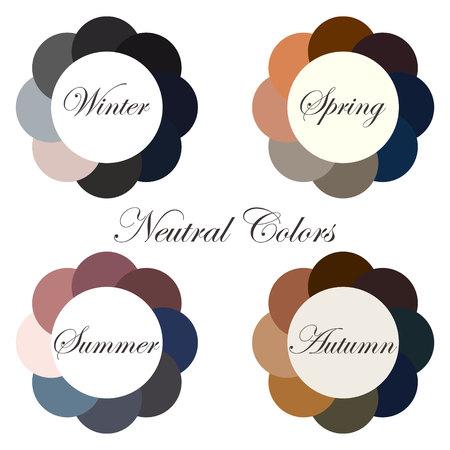 Seasonal color analysis. Set. Winter, Spring, Summer, Autumn