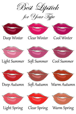 Colors for all types of appearance. Seasonal color analysis palette for Winter, Spring, Summer and Autumn