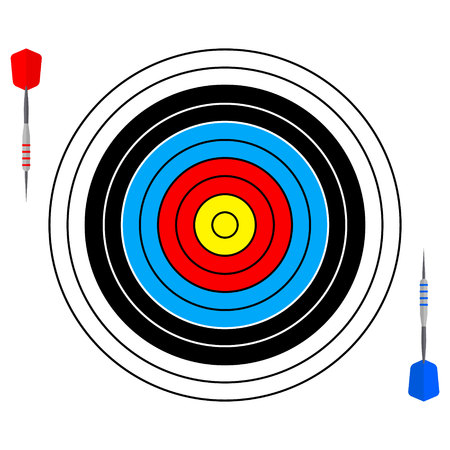 Vector illustrations with dartboards for darts game Иллюстрация