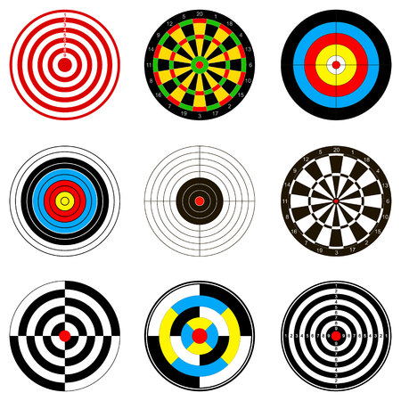Vector illustrations with dartboards for darts game for your design