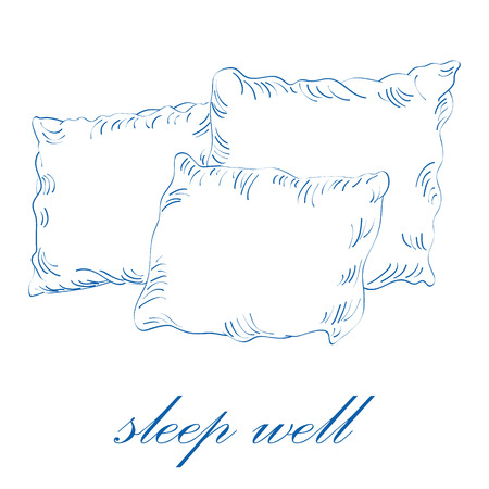 Sleep well concept. Sketch vector illustration of pillows isolated on white background Illustration