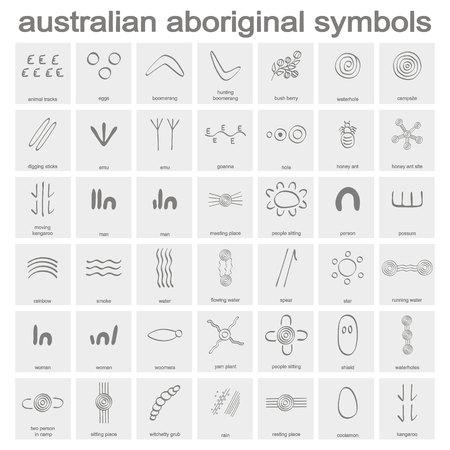 Conjunto de iconos monocromos con símbolos aborígenes australianos para su diseño Ilustración de vector