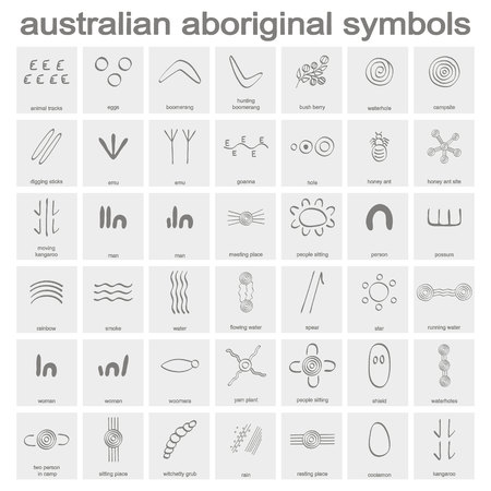 monochrome icon set with australian aboriginal symbols for your design