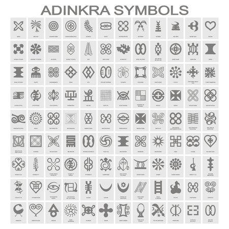 Satz monochromer Symbole mit Adinkra-Symbolen für Ihr Design Vektorgrafik