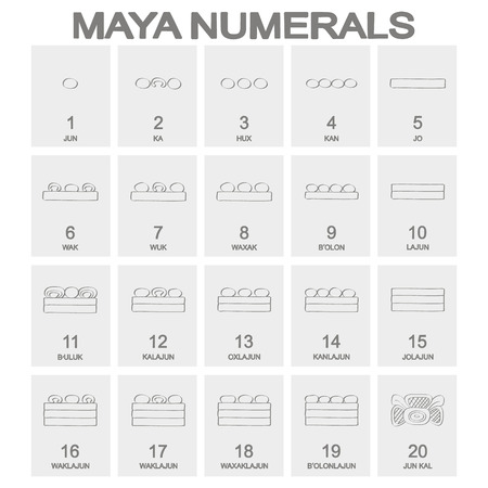vector icon set with mayan numerals glyphs for your design
