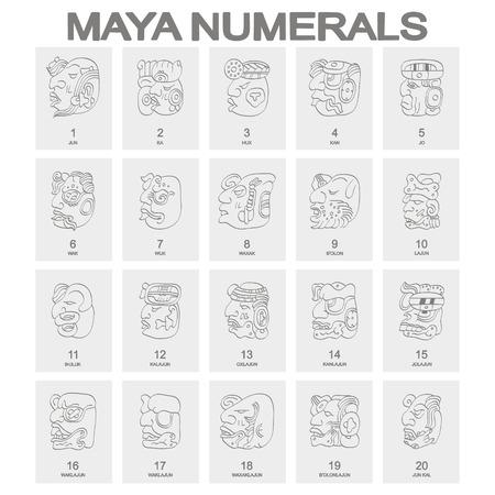 icono de vector con glifos de números de cabeza maya