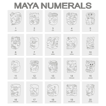vector icon set with maya head numerals glyphs