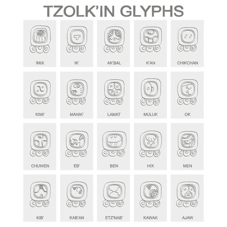 Tzolk'in calendar named days and associated glyphs 일러스트