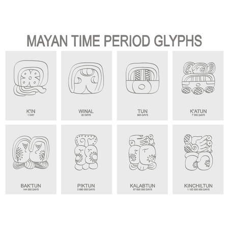 vector icon set with mayan time period and associated glyphs