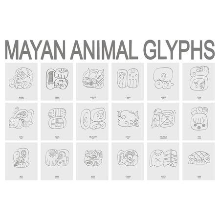 icono de vector con glifos de animales mayas Ilustración de vector