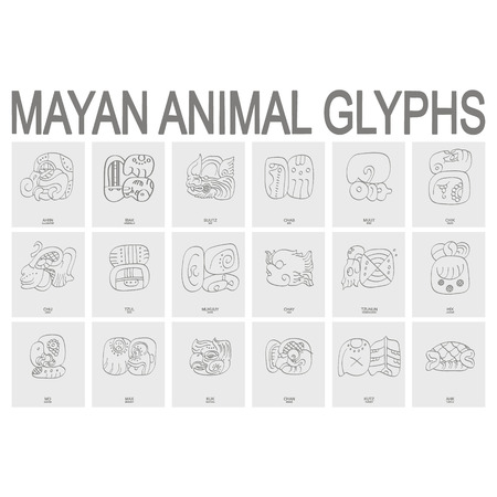 vector icon set with mayan animal glyphs