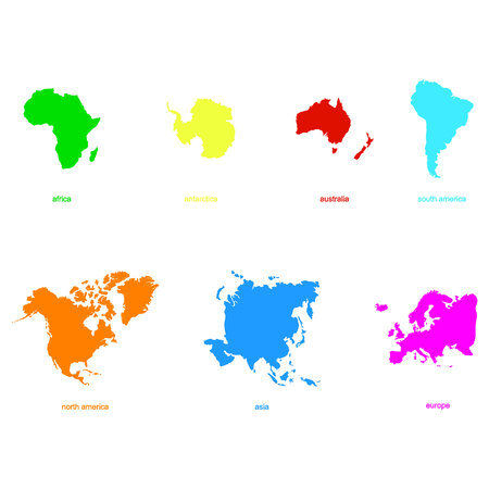 monochrome icons with world continents
