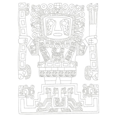 vector icon with great creator god in inca mythology