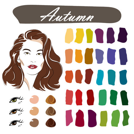 Stock vector seasonal color analysis palette. Hand drawn girl with autumn type of female appearance.
