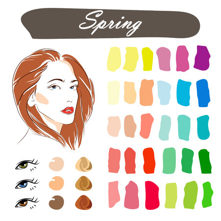 Stock vector seasonal color analysis palette. Hand drawn girl with spring type of female appearance.