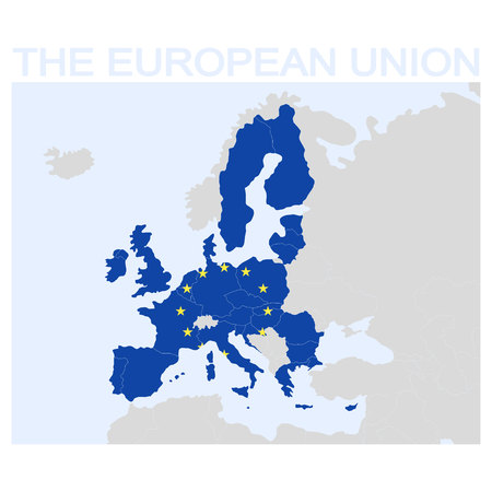 vector icon with map of the european union Ilustracja
