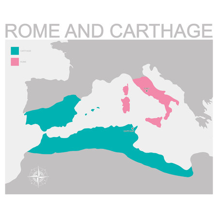 vector map of the territory of Rome and Carthage Vector Illustration