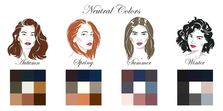 Seasonal color analysis. Vector hand drawn girls with different types of female appearance. Winter, Spring, Summer, Autumn Vetores