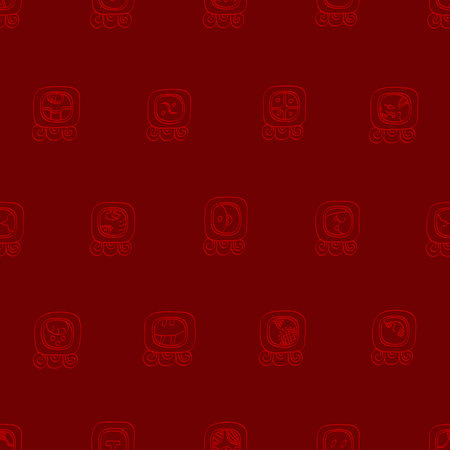 Seamless pattern with mayan glyphs