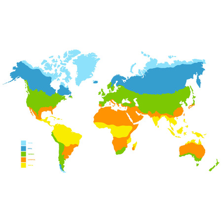 vector world map with climate zone Illustration