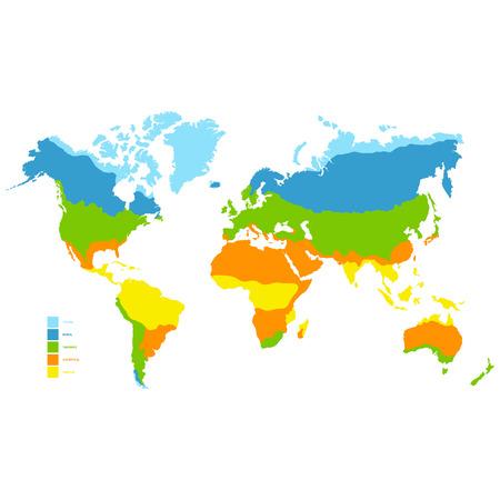 vector wereldkaart met klimaatzone