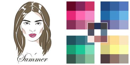 Stock vector hand drawn girl. Seasonal color analysis palette for summer type.