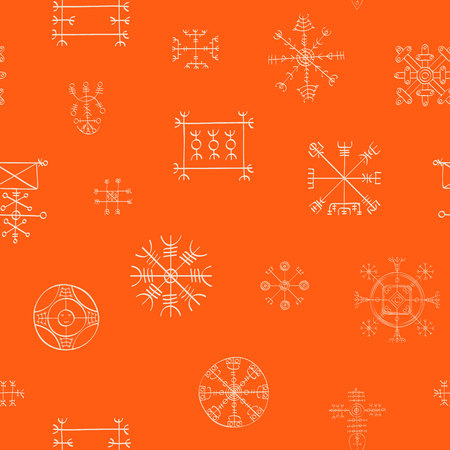Seamless pattern with Icelandic magical staves