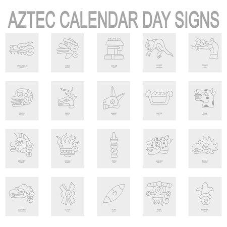 icônes avec les signes du jour du calendrier aztèque Vecteurs