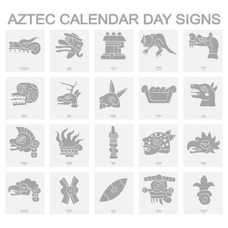 iconos con signos de día del calendario azteca