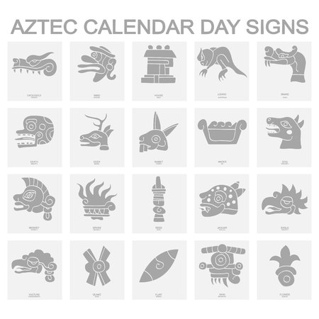 icons with Aztec calendar Day signs Banco de Imagens - 123492611