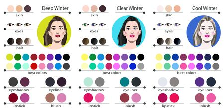 Color palette for cold and deep winter. Best colors for winter type of female appearance. Face of young woman.  イラスト・ベクター素材