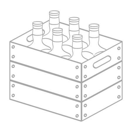 vector icon with wooden box with bottles