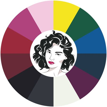 Stock vector color guide. Seasonal color analysis. Face of young woman.