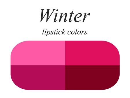 Palette for female appearance. Lipstick colors for winter type. Stock Illustratie