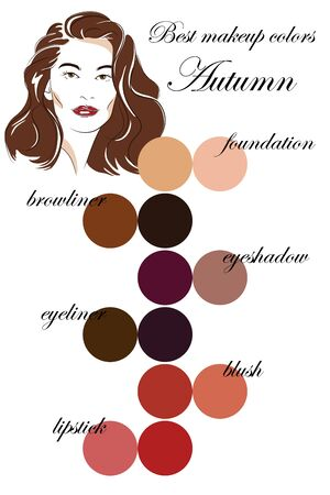 Best colors for autumn type of appearance. Seasonal color analysis palette. Face of young woman.