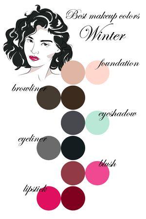 Winter makeup of winter. Seasonal color analysis palette. Face of young woman. Ilustração