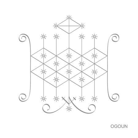 icon with veve vodoo symbol Ogoun 일러스트