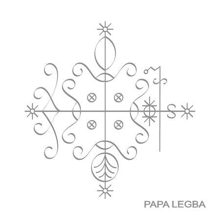 icon with veve vodoo symbol Papa Legba