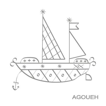 icon with veve vodoo symbol Agoueh