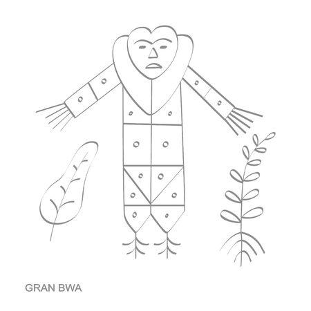 icon with veve vodoo symbol Gran Bwa