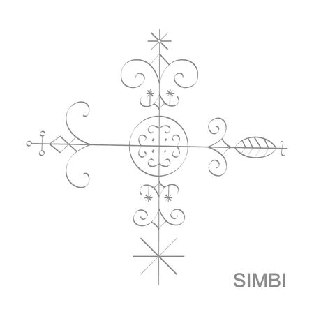 icon with veve vodoo symbol Simbi Illustration