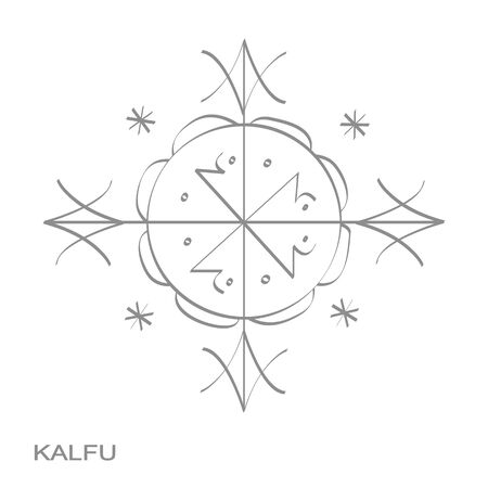 icon with veve voodoo symbol kalfu