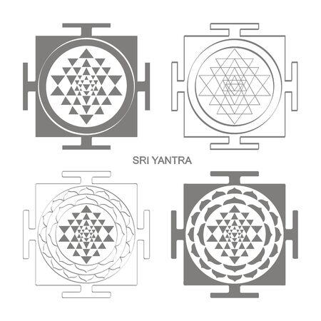 icon with Sri Yantra Hinduism symbol