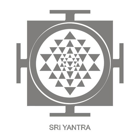 icon with Sri Yantra Hinduism symbol 版權商用圖片 - 127639536