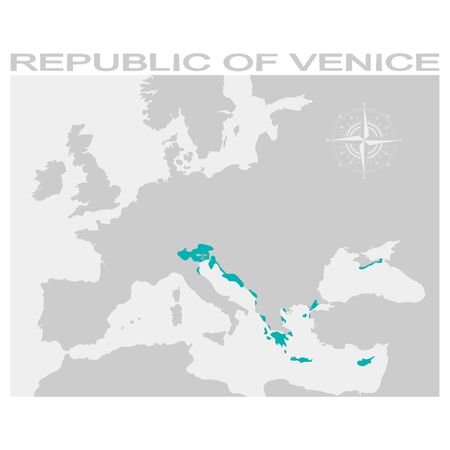 map of the republic of venice Ilustrace
