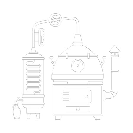 icon with vintage distillation apparatus